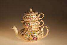 "Lord Nelson Ware Art Deco ""Pompadour"" Stacking Teapot Set, England c. 1938"