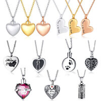 Love Heart Charm Ash Urn Cremation Women Necklace Keepsake Memorial Holder Gift