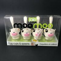 NEW Gourmet Kitchen Moo Moo Egg Cup & Spoon Set 4pc Cows Egg Cups Spoons