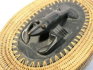 Vintage Lombok Indonesian Carved Wood CRAYFISH on Woven Basket Lid FINE WORK