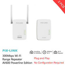 2x 300Mbps Powerline WiFi Ethernet Network Adapter Passthrough Extender Homeplug