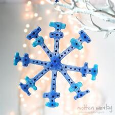 Colgante De Vidrio Fundido torcida Fundido Azul Copo De Nieve Regalo Árbol De Navidad Decoración