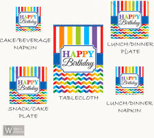 Happy Birthday Lunch Dessert Plate Napkin Plastic Table Cover Chevron Party Pack