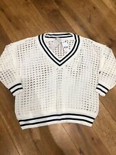 Ladies Cream & Navy Holey V-Neck Cricket Style Jumper From Next Size XL Petite