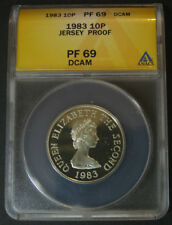 Jersey 10 Pence 1983,.925 Silver,ANACS PF 69 DCAM