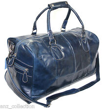 Large Blue Real Leather Holdall Duffel Travel Sports Gym Designer Weekend Bag