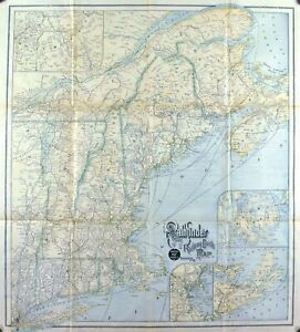 1890 ABC Pathfinder Railway Guide New England Antique Map