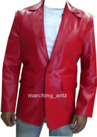 NEW Tailor Made Men Red Genuine Leather Jacket Blazer Sports Suit Coat S/M/L/XL