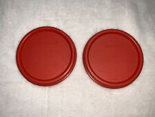 Set of 2 Tupperware Modular Mates Round Replacement Red Seal Lid Cover #1607
