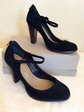 MARKS & SPENCER AUTOGRAPH BLACK SUEDE MARY JANE HEELS SIZE 5/38 WIDER FIT