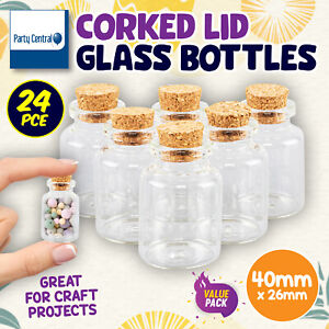 24PK Corked Lid Glass Bottles Decoration Craft Wedding Projects 40 x 26mm