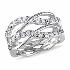 Amour Sterling Silver Cubic Zirconia Criss-cross Ring