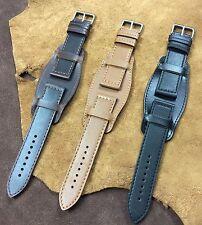 Size 18/20/22mm Military Pilot Bund Cow Leather Cuff Watch Strap Band #94