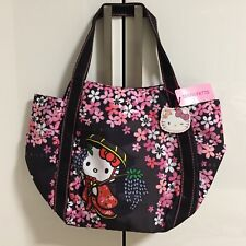 F/S Hello Kitty Manufatto Japanese Kimono Sakura Black Balloon Bag  Kyoto Japan