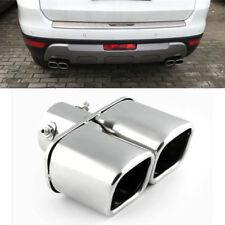 Universal Chrome Dual Auto Exhaust Tip Square Tail Pipe Muffler Trim Stainless