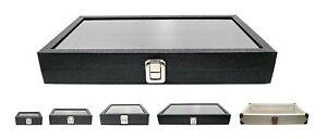 Novel Box Glass Top Black Leatherette Metal Clasp Jewelry Gem Display Case