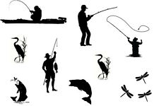 Fishing Fisherman Silhouettes Edible ** A4 ICING SHEET ** Cake Toppers