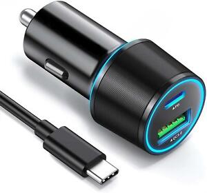 36W PD CAR CHARGER FAST 2-PORT USB CABLE QC3 POWER ADAPTER For PHONES & TABLETS