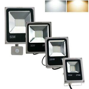 10W-50W LED SMD Fluter Lampe Grau Außen Strahler Baustrahler mit Bewegungsmelder