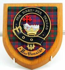 More details for vintage old scottish carved clan macdonald tartan plaque crest shield zx