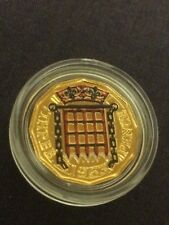 More details for special edition threepence coin. gold plated, painted. 1963.