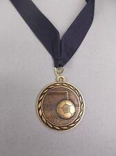 "Ms349 Ag gold soccer medal trophy award navy neck drape 2"" size"