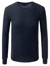 High Quality Blue Thermal Long Sleeve Round Neck T-shirt for Men's-Medium