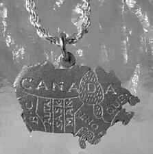 LOOK Map of Canada Country Sterling Silver 925 Charm Provinces Ontario Quebec BC