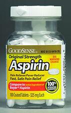 New Sealed Bottles of Aspirin 325mg 100 Tablets