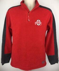 Nike Team Ohio State Buckeyes Fleece 1/2 Zip Jacket Sweatshirt Red Boys L 16/18