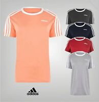 Ladies Adidas Ribbed Crew Neck Essentials 3 Stripe T Shirt Sizes from 8 to 26