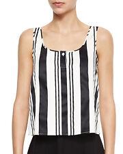 NWT- Theory Zelia Striped Sleeveless Top, Black/White - Size Small