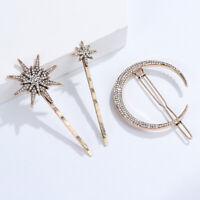 Jewelry Hair Accessories Star Moon Shape Metal Hairpins Rhinestone Hair Clips
