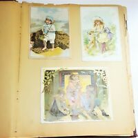 Antique 1890s Victorian Scrapbook Album Die Cuts Trading Cards Olive Vandermark