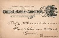1894 USA POSTAL CARD SCOTT STAMP & COIN Co Ltd Posted in New York to Canada