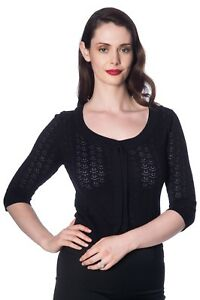 Women's Black Vintage Retro Rockabilly Knitted 50's Pointelle Top BANNED Apparel