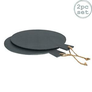 """2x Rustic Slate Pizza Serving Platter with Rope - 13"""" / 34cm Food Board Plate"""