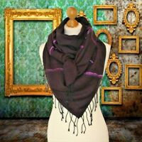 BNWT womens Plum purple coloured large heavy square scarf with lurex stripe