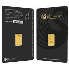 1 gram Perth Mint Gold Bar .9999 Fine (In Assay)