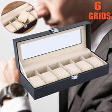 NEW 6 Grids Leather Watch Display Case Jewelry Collection Storage Holder Box ME