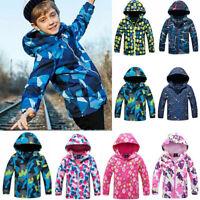 Kids Boys Girls Winter Hooded Coat Ski Snow Jacket Windproof Snowsuit Outwear