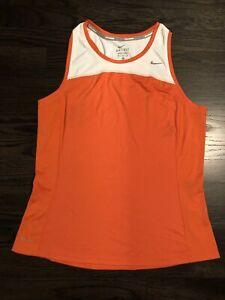 Nike Running Women's Size M Orange/White Sleeveless Dri-Fit Athletic Tank Top