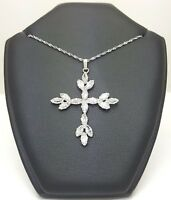 14ct (585,14K) White Gold Large Diamante Cross Necklace
