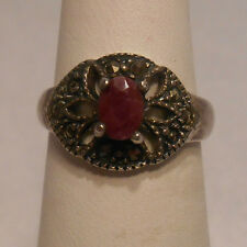Vintage Antique Estate~Ruby & Marcasite Accents 925 Sterling Silver Ring Sz 6.75