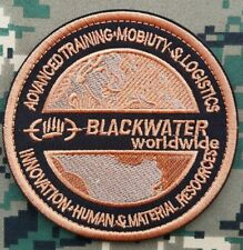 """4"""" BLACKWATER WORLDWIDE CONTRACTOR SPECIAL FORCES CIA HOOK LOOP PATCH BADGE TAN"""