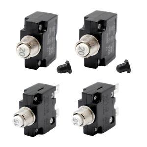 4pcs Push Button Circuit Breaker Fuse holder w/ Quick Terminals 15A+20A