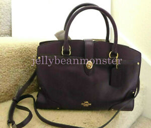 COACH 37575 MERCER SOFT GRAIN LEATHER SATCHEL 30 BAG PURSE Aubergine Purple NEW