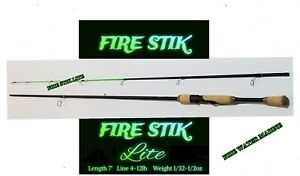 Fire Stik Lite Spinning Rod - Crappie, Trout, Bass - 2-piece Fishing Rod