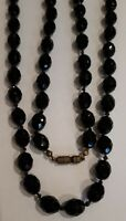 VINTAGE 1930'S ART DECO FRENCH JET BLACK GLASS GRADUATED BEADED NECKLACE