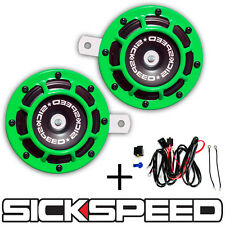 2PC LIME GREEN SUPER LOUD GRILLE MOUNT COMPACT BLAST TONE HORN W/ HARNESS P23